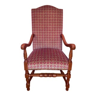 Jacobean Style Solid Scrubbed Oak Upholstered Chairs - Set of 10 For Sale