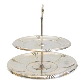 1950s Two Tier Sterling Silver Pastery Server For Sale