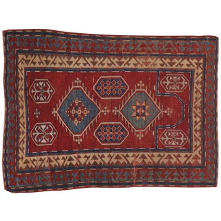 "Antique Caucasian Kazak Rug- 3'4"" x 4'7"""