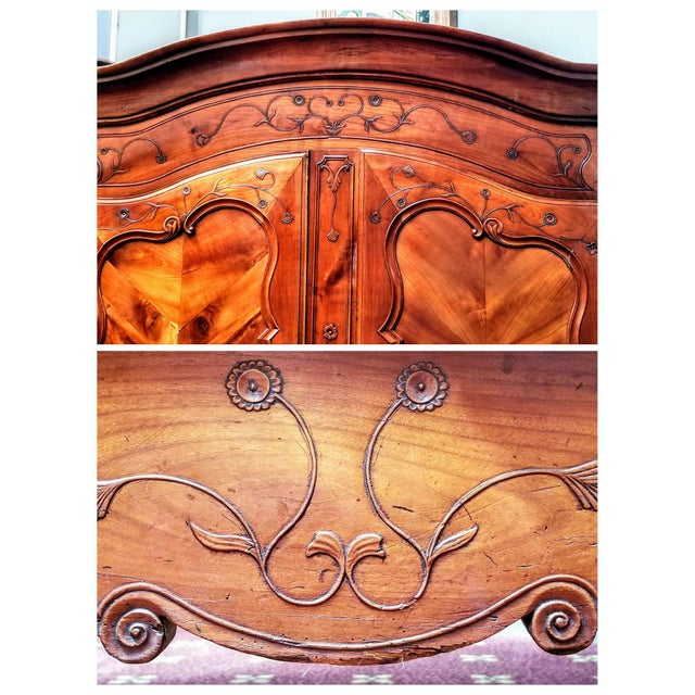 Louis XV 18th Century Louis XV French Armoire De Mariage With Carved Flower Accents Cherry Wood For Sale - Image 3 of 13