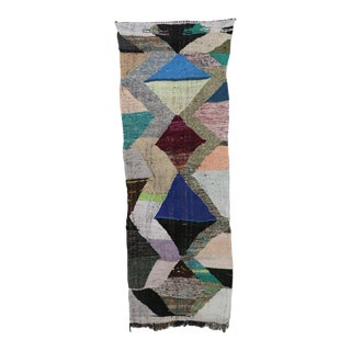 "Moroccan Kilim Boucherouite Rug- 3'0"" X 8'5"" For Sale"