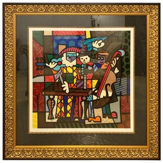 Modern Large Colorful Signed Print of Musicians For Sale
