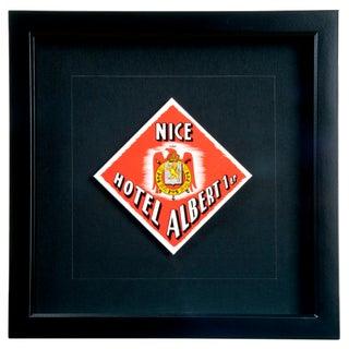 Vintage Framed French Albert Hotel Luggage Label