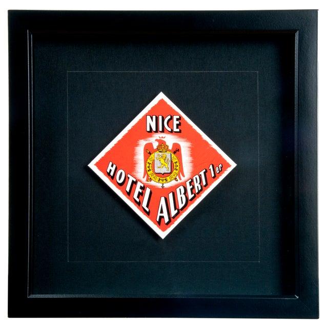 Vintage Framed French Albert Hotel Luggage Label - Image 1 of 2