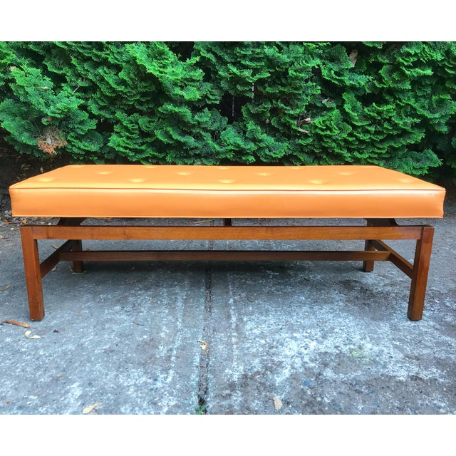1960s Mid Century Modern Orange Floating Bench Style of Jens Risom For Sale - Image 5 of 5