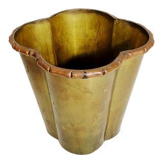 Brass & Copper Quadrafoil Planter With Faux Bamboo Edge For Sale
