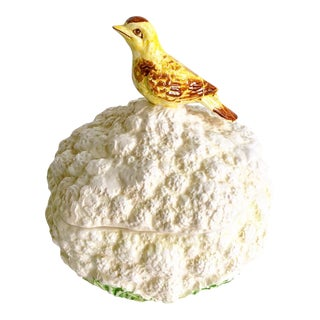 Vintage 1970s Cauliflower Bowl With Bird by Gloria Vanderbilt For Sale