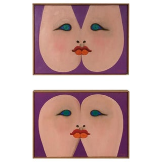Pair of Female Form Paintings by Albert Radoczy For Sale