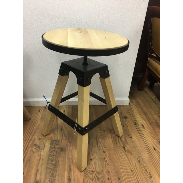Noir Solid Wood & Black Steel Swivel Stool For Sale - Image 10 of 13