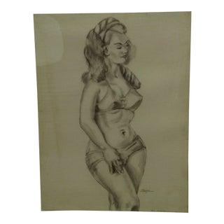 "Original Drawing Sketch ""Voluptuous"" by Tom Sturges Jr., 1942"