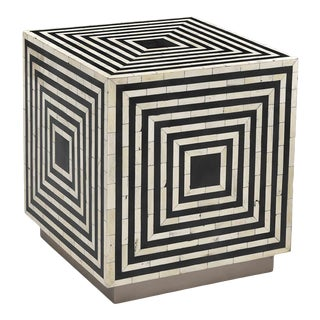 Black & White Inlay Cube Side Table For Sale