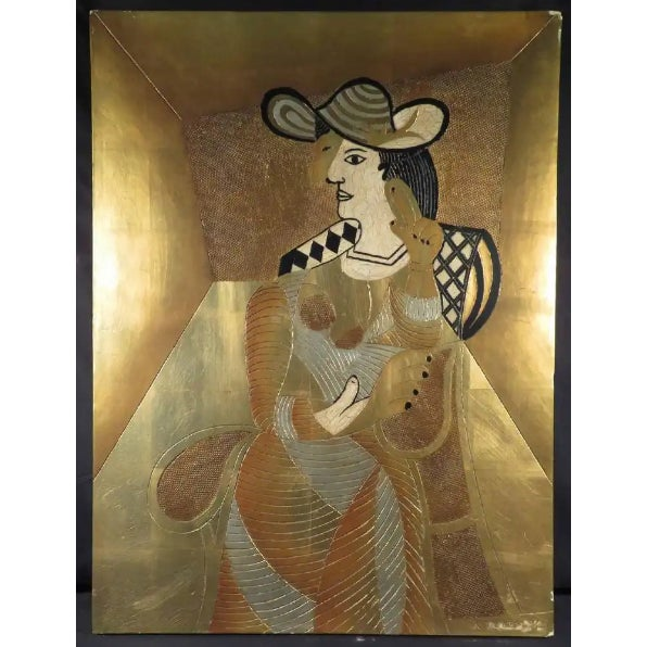 Gilded Cubist Woman Sculpture For Sale - Image 4 of 4
