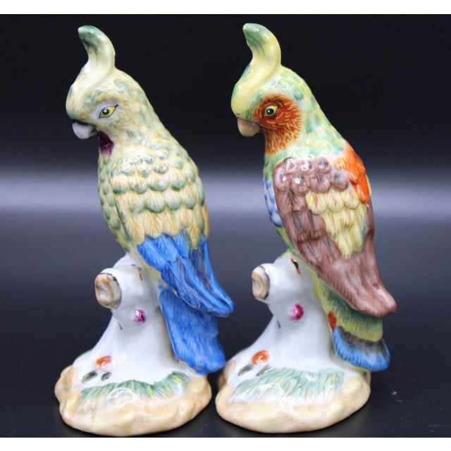 Mid-20th Century Chinese Export Ceramic Parrot Figurines - a Pair For Sale - Image 9 of 11