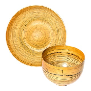Vintage Bamboo Presentation Bowls - a Pair For Sale