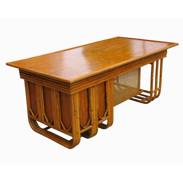 Jean Royère Restored Large Jean Royère Style Streamline Rattan Executive Desk For Sale - Image 4 of 8
