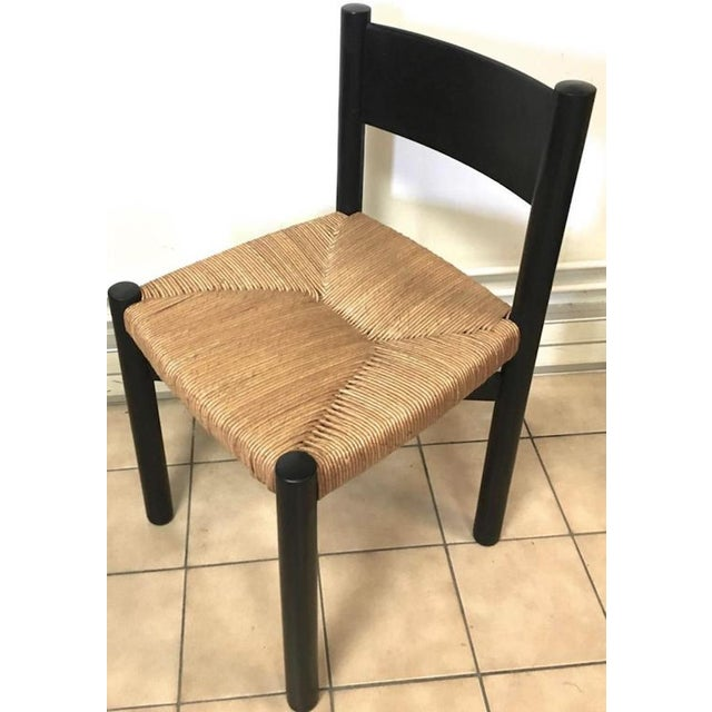 """Charlotte Perriand Charlotte Perriand Set of Four Black Model """"Meribel"""" Rush Chairs For Sale - Image 4 of 7"""