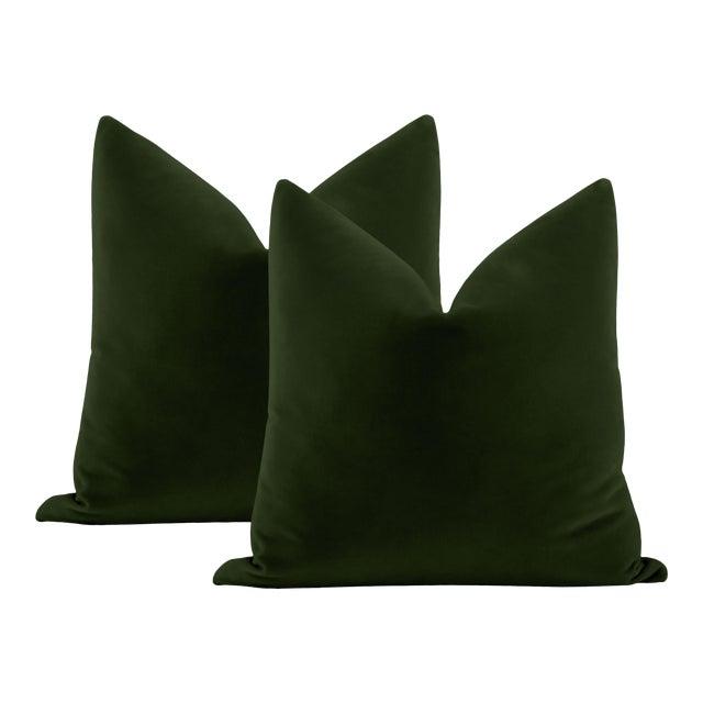 """22"""" Fern Italian Velvet Pillows - a Pair For Sale"""