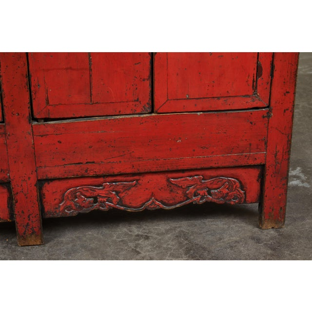 18th Century Chinese Elm 4-Door Side Cabinet For Sale - Image 9 of 11