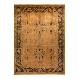 """Transitional, One-Of-A-Kind Hand-Knotted Area Rug - Beige, 10' 3"""" X 13' 10"""" For Sale"""