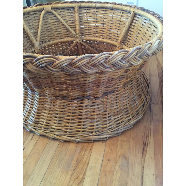 1970s Boho Chic Round Wicker Coffee Table For Sale - Image 6 of 11