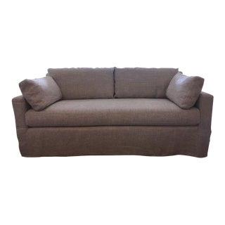 Restoration Hardware Belgian Track Arm Linen Sofa For Sale