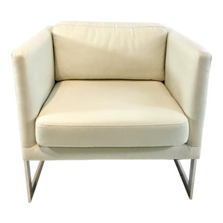 Mid-Century Modern Style World's Away White Leather and Chrome Club Chair For Sale