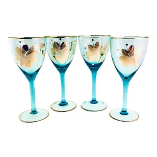 Vintage 1950s Turquoise Bohemia Glass Glassware - Set of 4 For Sale