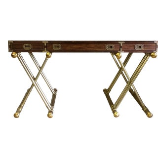 1970s Drexel Oxford Square Campaign X-Base Desk Console For Sale