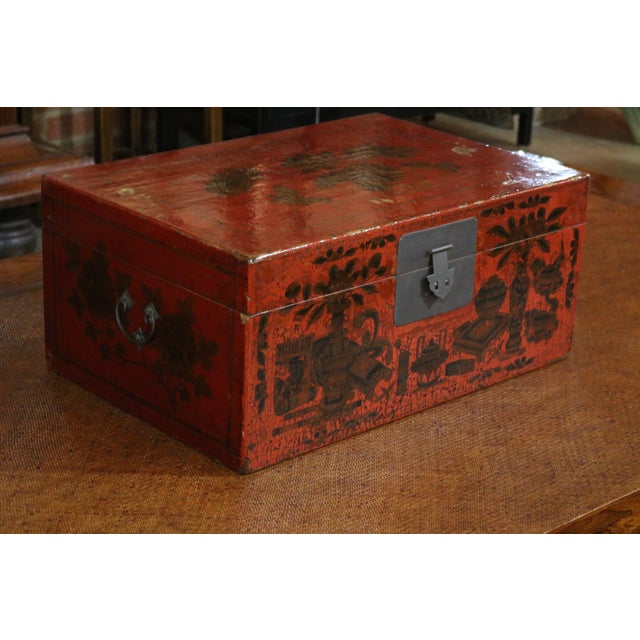 Chinese Red Lacquer Painted Trunk For Sale - Image 4 of 9