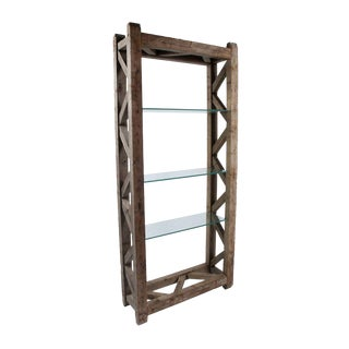 Rustic Wood and Glass Bookcase For Sale
