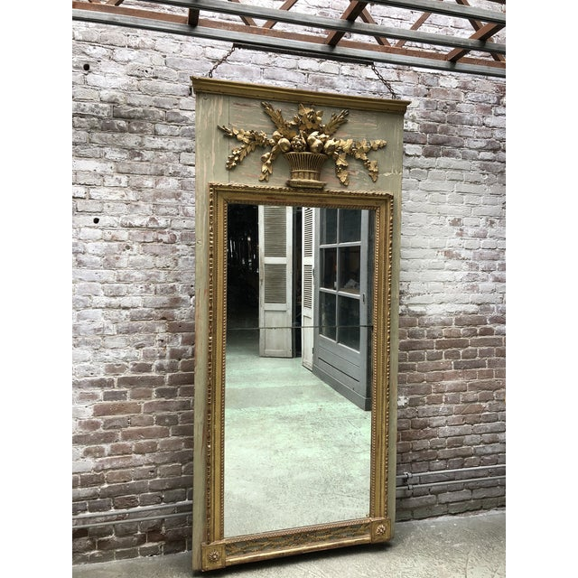 French A North Italian Gilt Wood and French Olive Painted Trumeau Mirror, 18th Century For Sale - Image 3 of 10