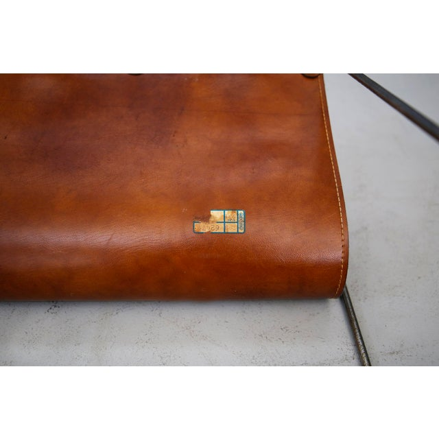 Carl Auböck II MidCentury Magazine Holder in Leather and Steel, 1950's For Sale - Image 6 of 11