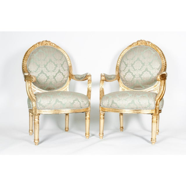 Luxury French Victorian Style Gilded Wood Frame Chairs A Pair Decaso