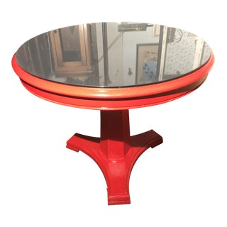 2010s Modern Glossy Red Pedestal and Beveled Black Mirror Top Table