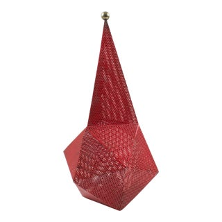 Iconic Mathieu Mategot Red Perforated Metal Baghdad Table Lamp For Sale