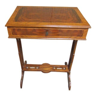 Regency Georgian Style Burlwood Inlay Satinwood Side Table With Drawer For Sale