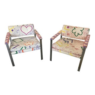 1960s Mid-Century Modern Milo Baughman for Thayer-Coggin Pink and White Pattern Upholstered Club Chairs - a Pair