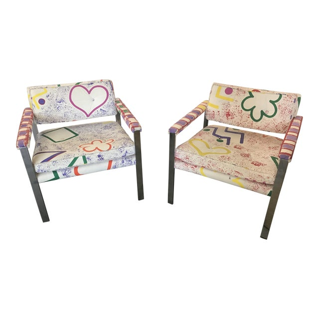 1960s Mid-Century Modern Milo Baughman for Thayer-Coggin Pink and White Pattern Upholstered Club Chairs - a Pair For Sale