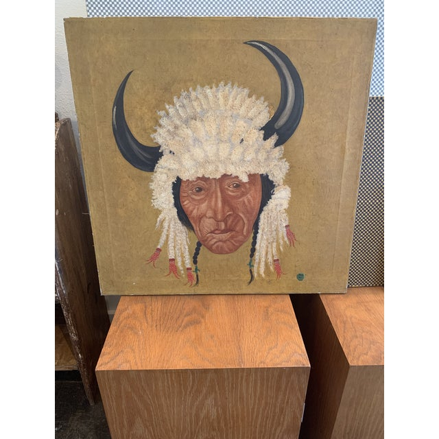 Canvas Native American Chief Oil on Canvas Painting For Sale - Image 7 of 7