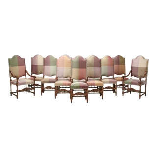 French Walnut Chairs in Austrian Silk, Set of 12 For Sale