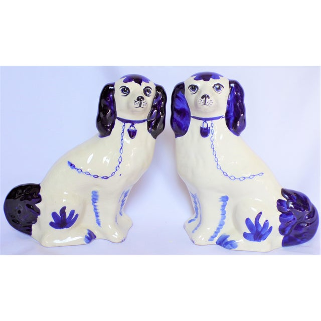 Vintage Blue and White Ceramic Staffordshire Dogs - a Pair For Sale In Houston - Image 6 of 11