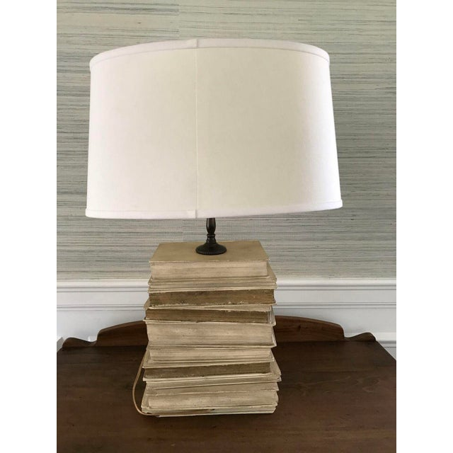 Vintage stacked book table lamp chairish vintage stacked book table lamp image 3 of 6 aloadofball Image collections