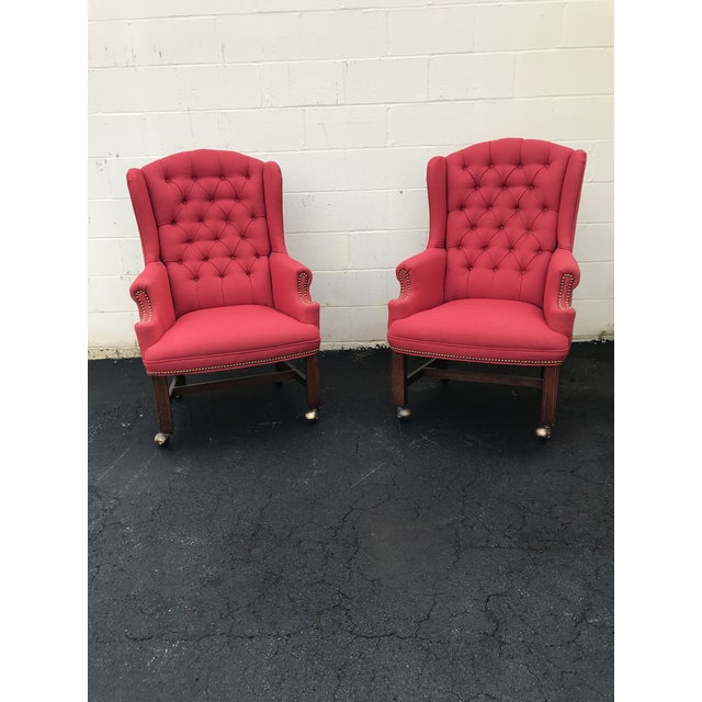 Mid-Century Modern Red Upholstered Wingback Chairs - a Pair For Sale - Image 3 of 7
