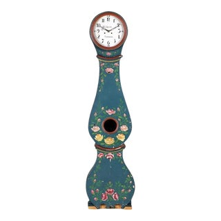 Swedish Mora Clock with Floral Paint Details For Sale