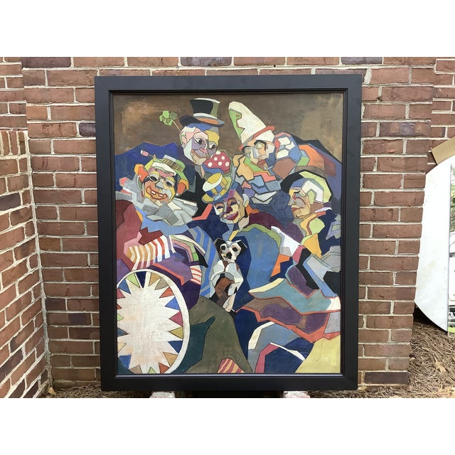 Midcentury Cubist Style / Folk Art Clown Painting For Sale - Image 12 of 12