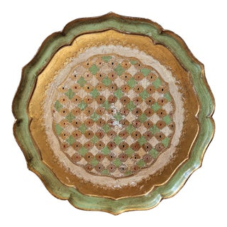 Mid-Century Shabby Chic Italian Gold and Green Florentine Tray For Sale