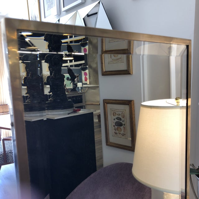Vintage Brass Cheval Mirror For Sale In New York - Image 6 of 7
