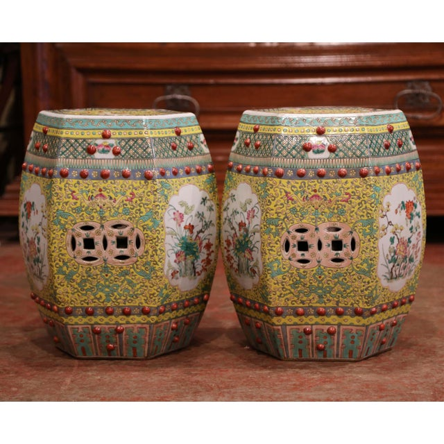 Mid-20th Century Chinese Porcelain Garden Stools With Floral and Foliage - a Pair For Sale - Image 4 of 9
