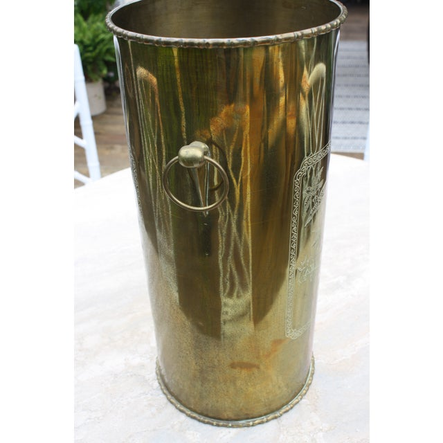 Mid-Century Brass Chinoiserie Umbrella Stand - Image 9 of 9