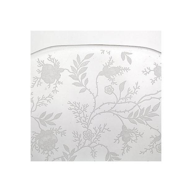Traditional 1950's Glass Floral Etched Server For Sale - Image 3 of 3